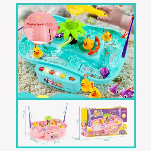 Kids Fishing Toy Child Play House Educational Toys Duck Fishing Games Electric Water Cycle Music Light 2
