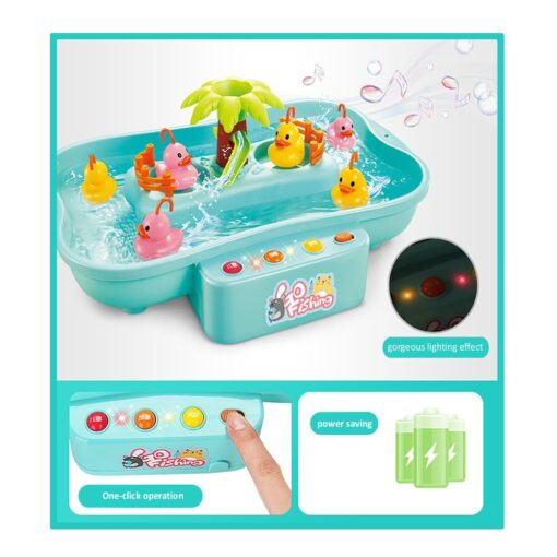 Kids Fishing Toy Child Play House Educational Toys Duck Fishing Games Electric Water Cycle Music Light 4