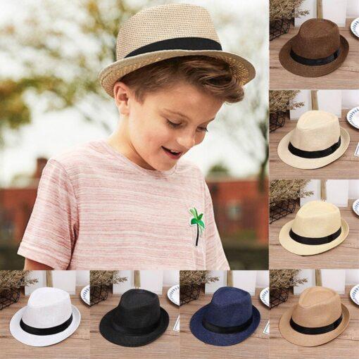 Kids Hats Children Kids Summer Beach Straw Hat Jazz Panama Trilby Fedora Hat Gangster Cap Fashion 1