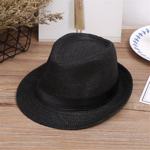 Kids Hats Children Kids Summer Beach Straw Hat Jazz Panama Trilby Fedora Hat Gangster Cap Fashion 2