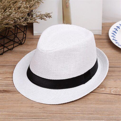 Kids Hats Children Kids Summer Beach Straw Hat Jazz Panama Trilby Fedora Hat Gangster Cap Fashion 3