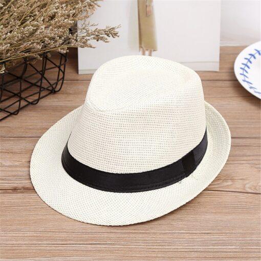 Kids Hats Children Kids Summer Beach Straw Hat Jazz Panama Trilby Fedora Hat Gangster Cap Fashion 4