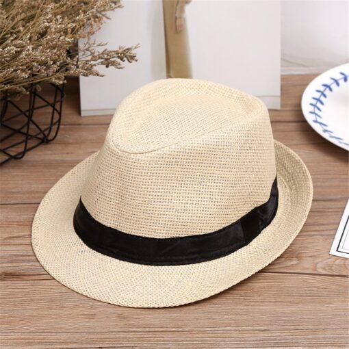 Kids Hats Children Kids Summer Beach Straw Hat Jazz Panama Trilby Fedora Hat Gangster Cap Fashion 5