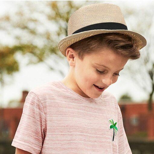 Kids Hats Children Kids Summer Beach Straw Hat Jazz Panama Trilby Fedora Hat Gangster Cap Fashion