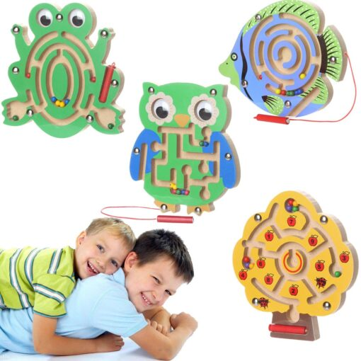 Kids Magnetic Maze Toys Kids Wooden Game Toy Wooden Intellectual Jigsaw Board Labyrinth Board For Kids