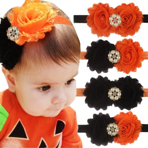 Kids Newborn Headband Girls Baby Halloween Party Fashion Flowers Pearl Headband Accessories Headwears Photography Props Gifts