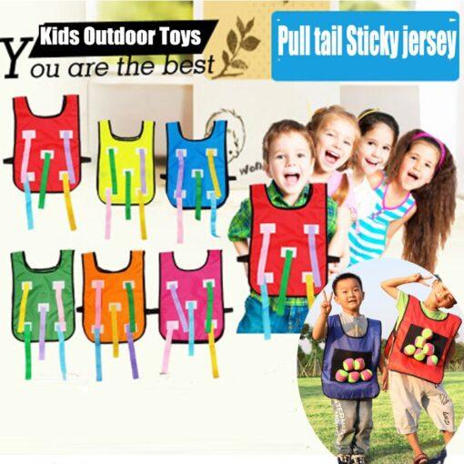 Kids Outdoor Sport Throwing Game Prop Soft Ball Vest Waistcoat With Sticky Balls Kindergarten Interactive Toys 1