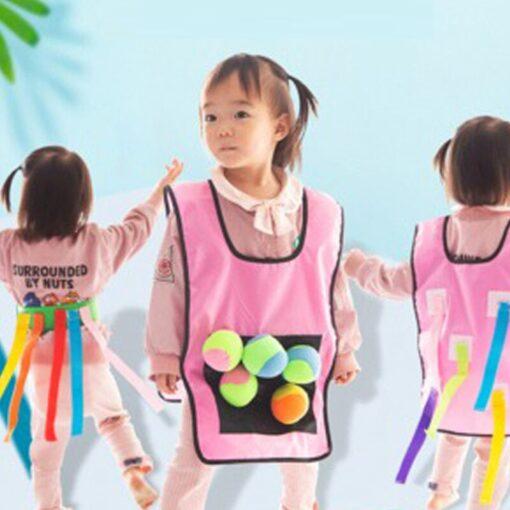Kids Outdoor Sport Throwing Game Prop Soft Ball Vest Waistcoat With Sticky Balls Kindergarten Interactive Toys 2