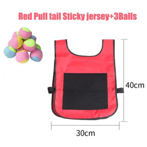 Kids Outdoor Sport Throwing Game Prop Soft Ball Vest Waistcoat With Sticky Balls Kindergarten Interactive Toys 3