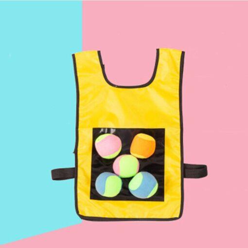 Kids Outdoor Sport Throwing Game Prop Soft Ball Vest Waistcoat With Sticky Balls Kindergarten Interactive Toys 4