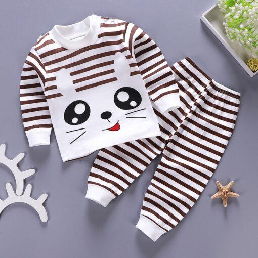 Kids Pajamas Sets Baby Boys Girls Cotton Long Sleeved Tshirt pant Cartoon Girl Clothing Autumn Sleepwear 1