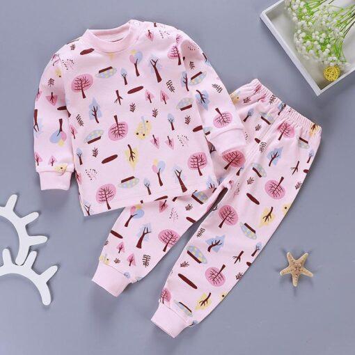Kids Pajamas Sets Baby Boys Girls Cotton Long Sleeved Tshirt pant Cartoon Girl Clothing Autumn Sleepwear 3