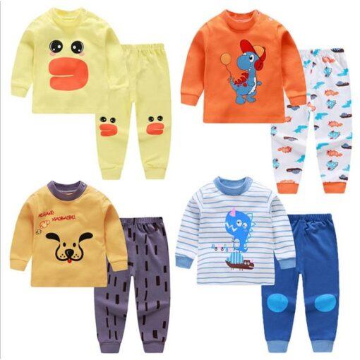 Kids Pajamas Sets Baby Boys Girls Cotton Long Sleeved Tshirt pant Cartoon Girl Clothing Autumn Sleepwear