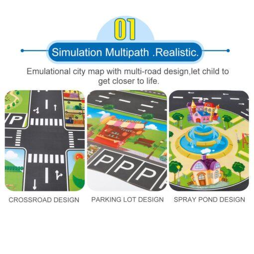 Kids Play Mat City Road Buildings Parking Map Game Scene Home Traffic Map Kids Carpet Map 2