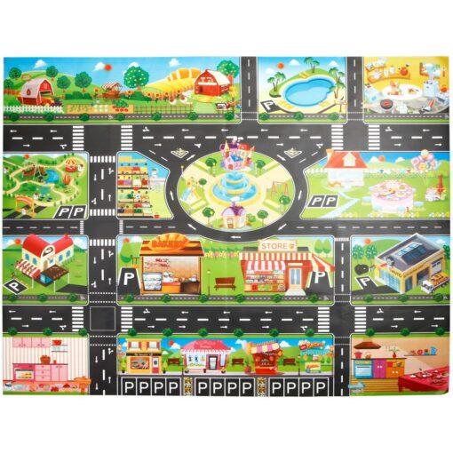Kids Play Mat City Road Buildings Parking Map Game Scene Home Traffic Map Kids Carpet Map 4