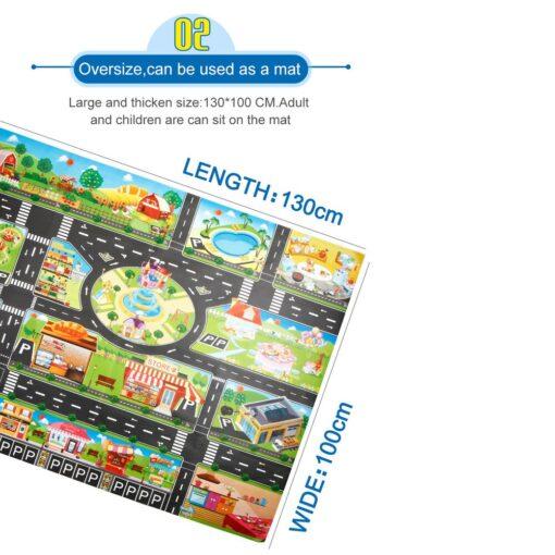 Kids Play Mat City Road Buildings Parking Map Game Scene Home Traffic Map Kids Carpet Map 5