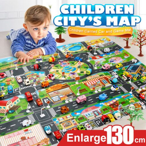 Kids Play Mat City Road Buildings Parking Map Game Scene Home Traffic Map Kids Carpet Map