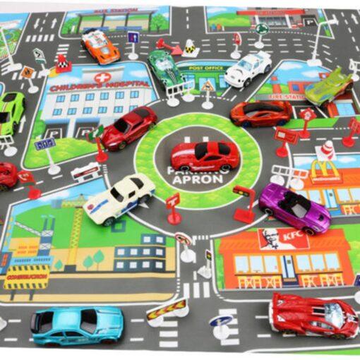 Kids Play Mat City Road Buildings Parking Map Game Scene Map Baby Mat Game Scene Educational