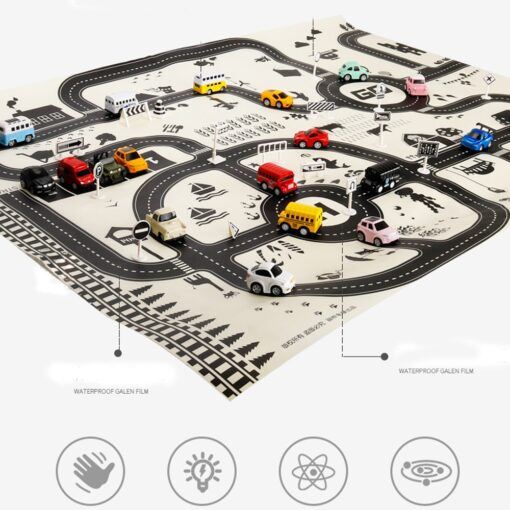 Kids Play Mat City Road Buildings Parking Map Game Scene Map Educational Toys Toys For Children 1