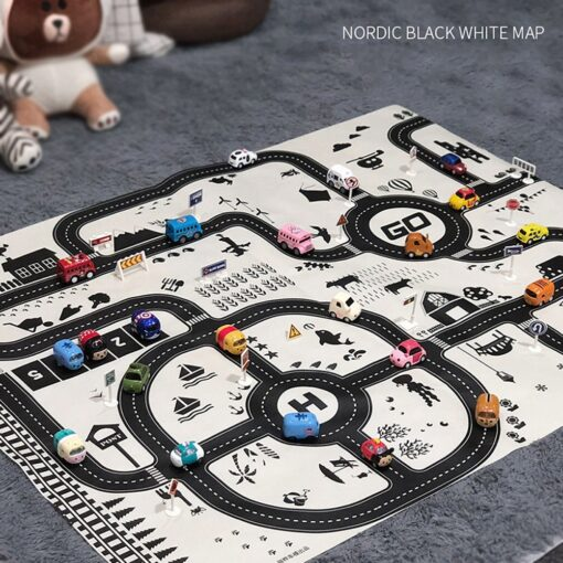 Kids Play Mat City Road Buildings Parking Map Game Scene Map Educational Toys Toys For Children 3