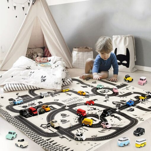 Kids Play Mat City Road Buildings Parking Map Game Scene Map Educational Toys Toys For Children 5