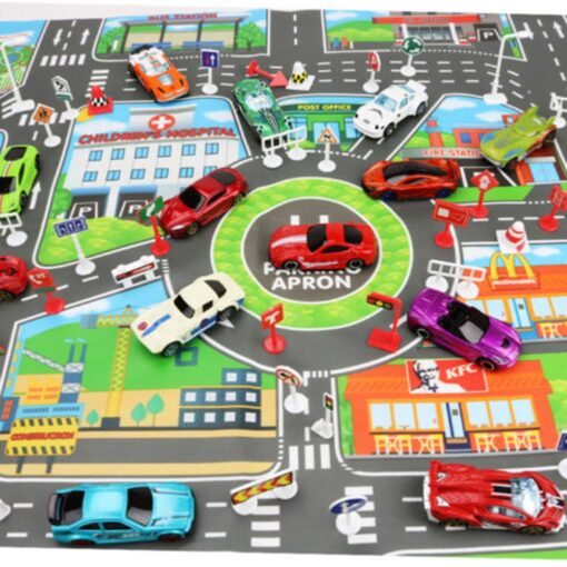 Kids Play Mat Parking lot road sign map City Road Buildings Parking Map Game Scene Map 1