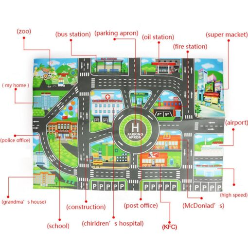 Kids Play Mat Parking lot road sign map City Road Buildings Parking Map Game Scene Map 3