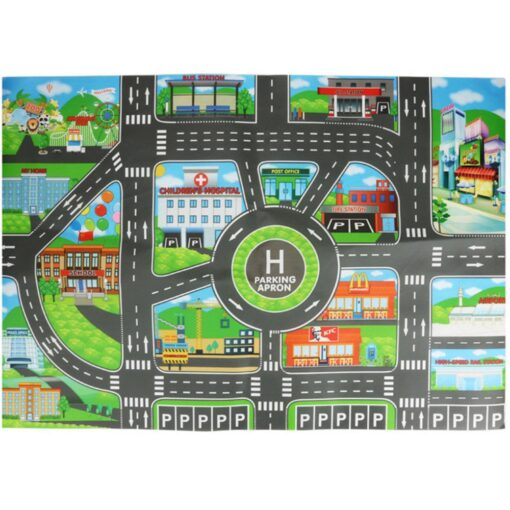 Kids Play Mat Parking lot road sign map City Road Buildings Parking Map Game Scene Map 4
