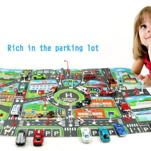 Kids Play Mat Parking lot road sign map City Road Buildings Parking Map Game Scene Map