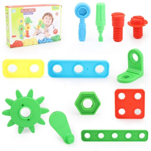 Kids Toys 37pcs Plastic Assembled Screws Nut Toys Screwing Blocks Game Hand eye Coordination Kids Early