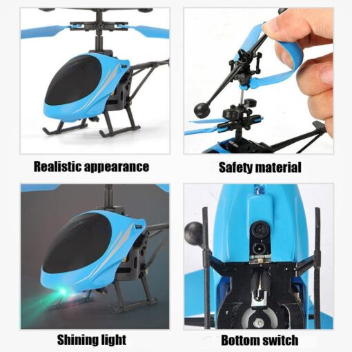 Kids Toys Mini Drone RC Flying Helicopter Aircraft with Remote Control Suspension Induction LED Light Toys 3