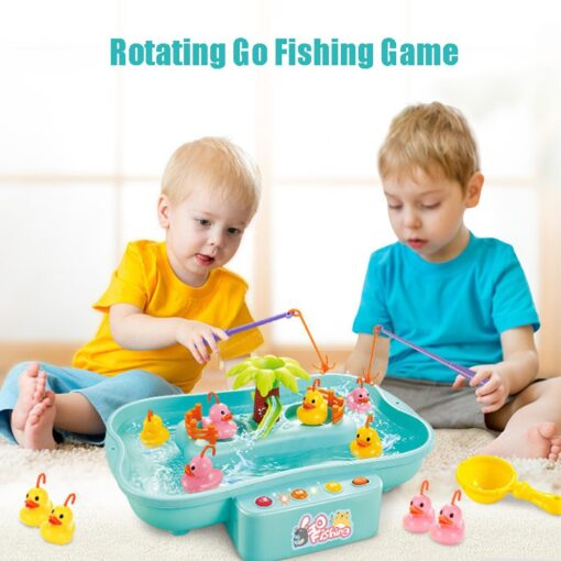 Kids Water Cycle Electric Fishing Toys Music Light Toys for Children Fishing Games Water Play Outdoor 2