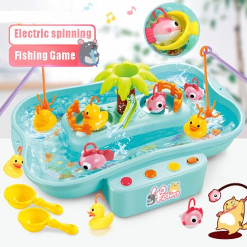 Kids Water Cycle Electric Fishing Toys Music Light Toys for Children Fishing Games Water Play Outdoor