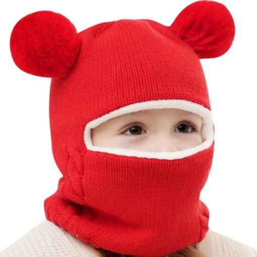 Kids Winter Hats Ears Girls Boys Children Warm Caps Scarf Set Baby Bonnet Enfant Knitted Cute 10