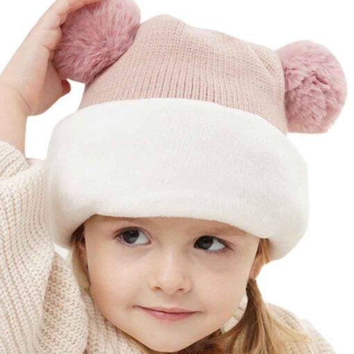 Kids Winter Hats Ears Girls Boys Children Warm Caps Scarf Set Baby Bonnet Enfant Knitted Cute 9