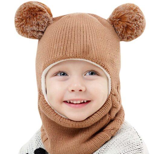 Kids Winter Hats Ears Girls Boys Children Warm Caps Scarf Set Baby Bonnet Scarves Enfant Knitted 1