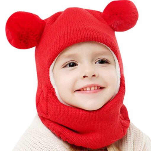Kids Winter Hats Ears Girls Boys Children Warm Caps Scarf Set Baby Bonnet Scarves Enfant Knitted 3