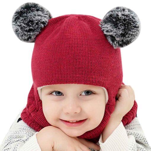 Kids Winter Hats Ears Girls Boys Children Warm Caps Scarf Set Baby Bonnet Scarves Enfant Knitted 5