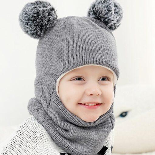 Kids Winter Hats Ears Girls Boys Children Warm Caps Scarf Set Baby Bonnet Scarves Enfant Knitted