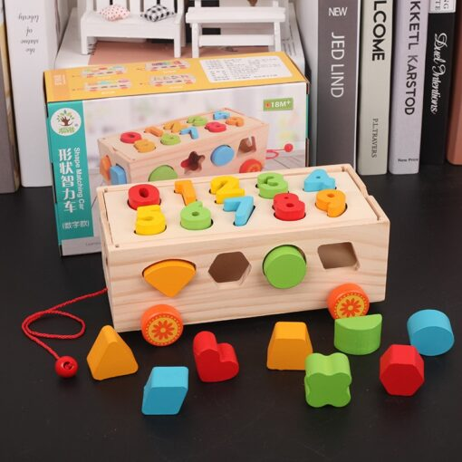 Kids Wooden Box Building Blocks Multi Functional Geometric Shape Matching Intellectual Car Early Childhood Education Toy 1