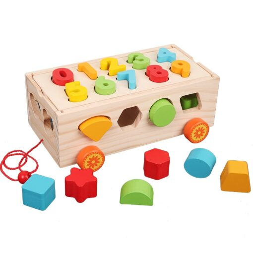 Kids Wooden Box Building Blocks Multi Functional Geometric Shape Matching Intellectual Car Early Childhood Education Toy 2