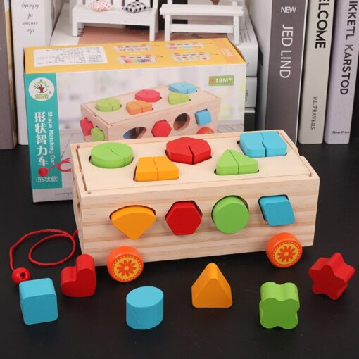 Kids Wooden Box Building Blocks Multi Functional Geometric Shape Matching Intellectual Car Early Childhood Education Toy 3