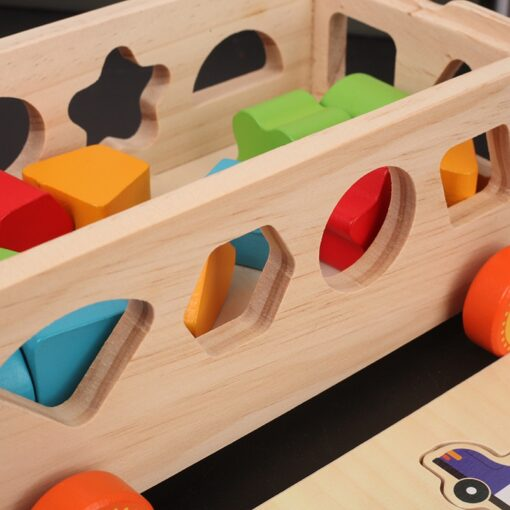 Kids Wooden Box Building Blocks Multi Functional Geometric Shape Matching Intellectual Car Early Childhood Education Toy 5