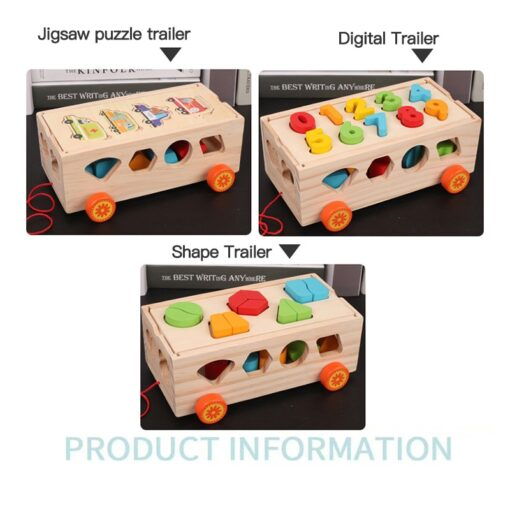 Kids Wooden Box Building Blocks Multi Functional Geometric Shape Matching Intellectual Car Early Childhood Education Toy