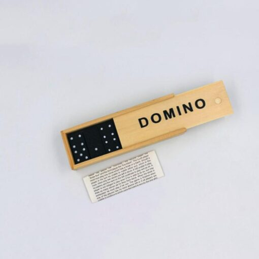 Kids Wooden Box Dominoes Set Toy Traditional Classic Children 28 Tiles Domino Travel Game Family Game 4