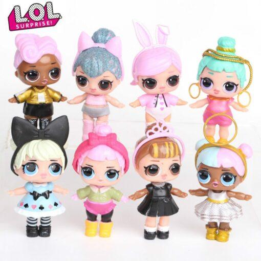 L O L SURPRISE 8pcs set Lol Surprise Doll Ornaments Toy Confetti Glitter Series Action Figures