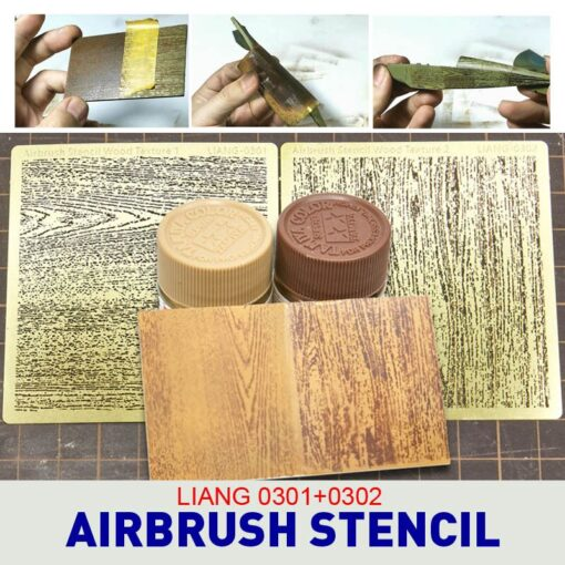 LIANG 0301 0302 Airbrush Stencil Wood Texture for 1 32 1 35 1 48 Scale Parts 1