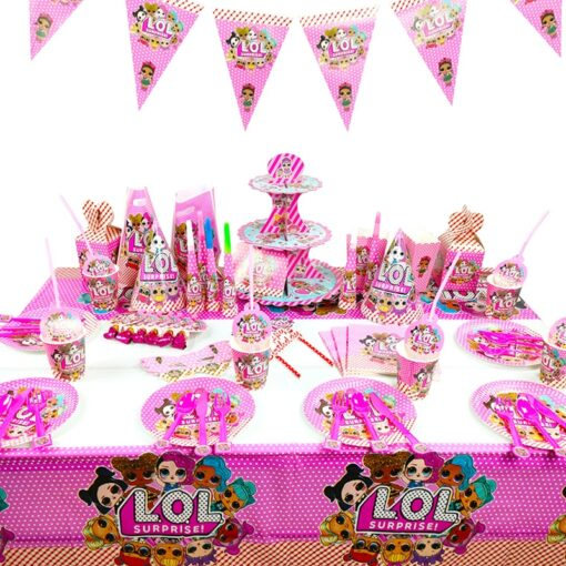 LOL Surprise Doll Birthday Party Decoration Toys Set Cartoon Anime Action Figure Model Family Party Tableware