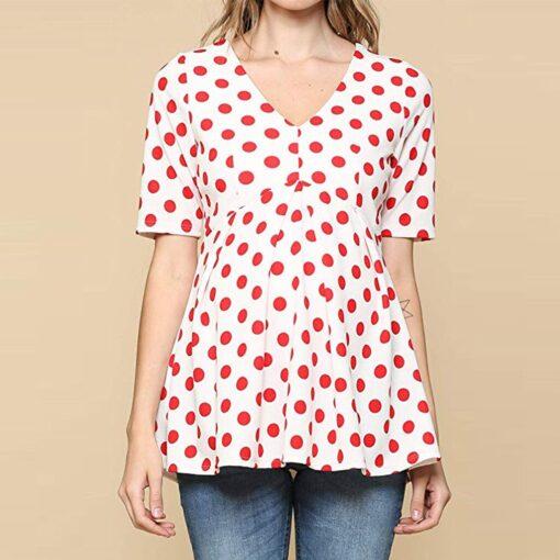 Ladies Pregnant Women Breastfeeding Dot Print Short Sleeve Tops Shirt Breastfeeding Tops Loose Maternity Clothing LR2 1