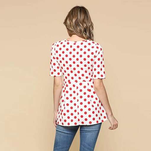 Ladies Pregnant Women Breastfeeding Dot Print Short Sleeve Tops Shirt Breastfeeding Tops Loose Maternity Clothing LR2 2